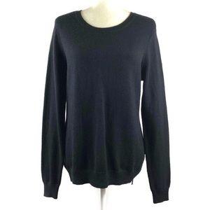 Talbots Black Wool Blend Side Zipper Sweater